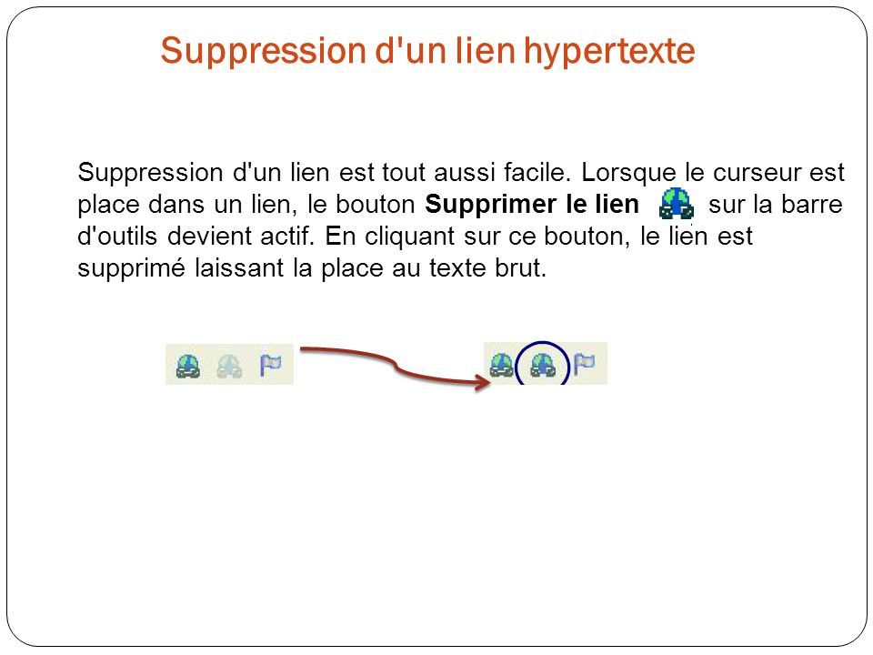 Suppression d un lien hypertexte