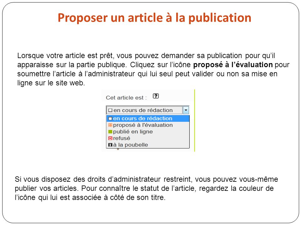 Proposer un article à la publication