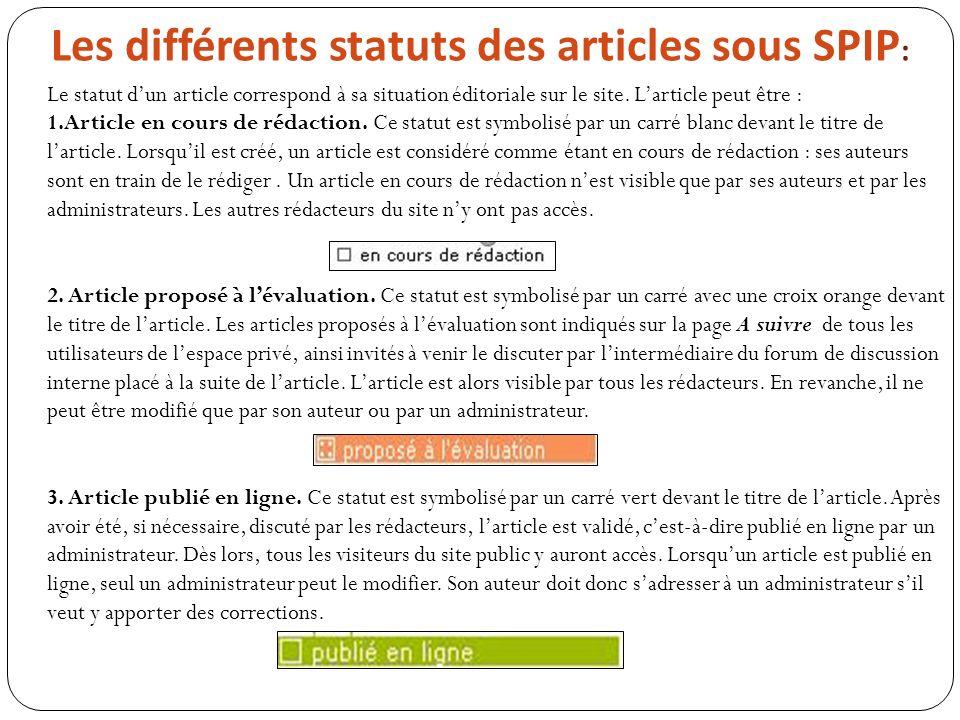Les différents statuts des articles sous SPIP: