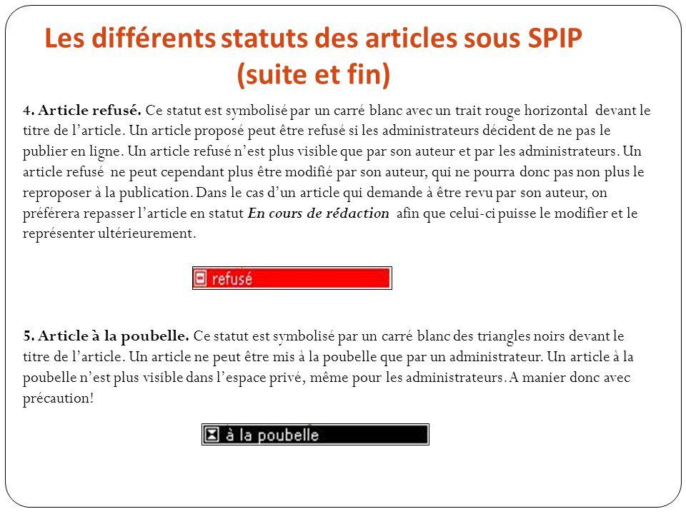 Les différents statuts des articles sous SPIP (suite et fin)