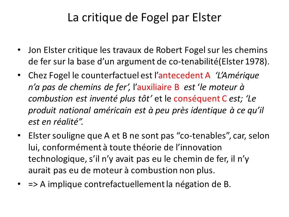 La critique de Fogel par Elster