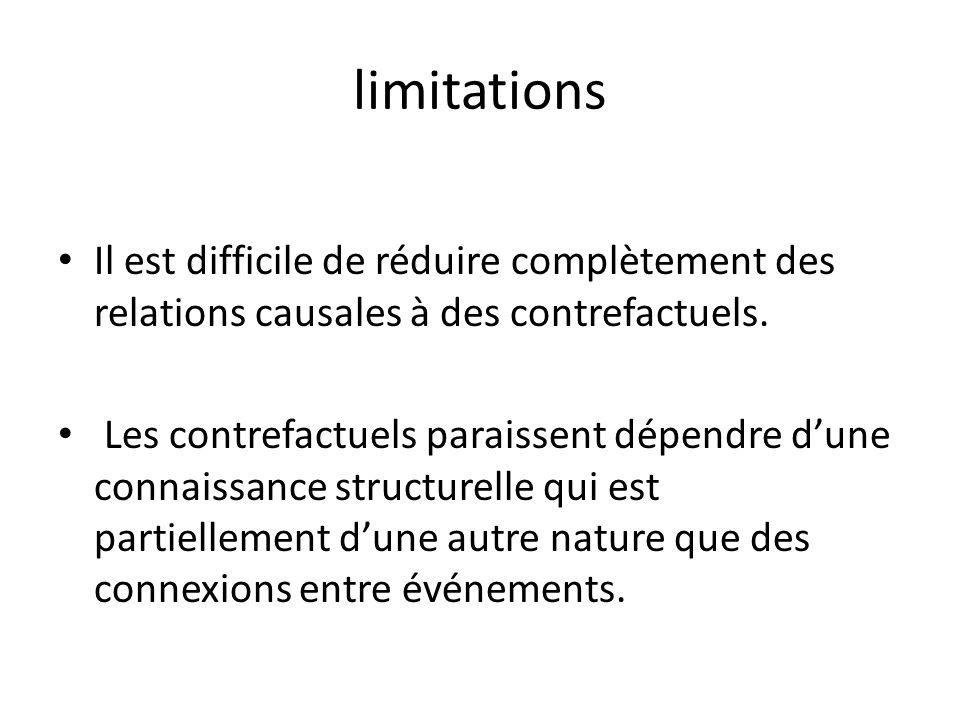 limitations Il est difficile de réduire complètement des relations causales à des contrefactuels.