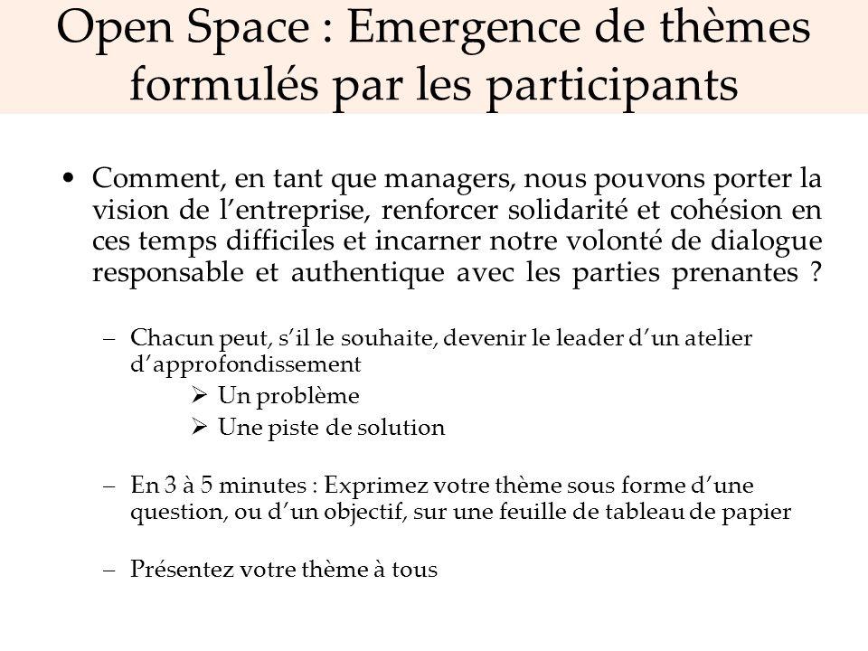 Open Space : Emergence de thèmes formulés par les participants