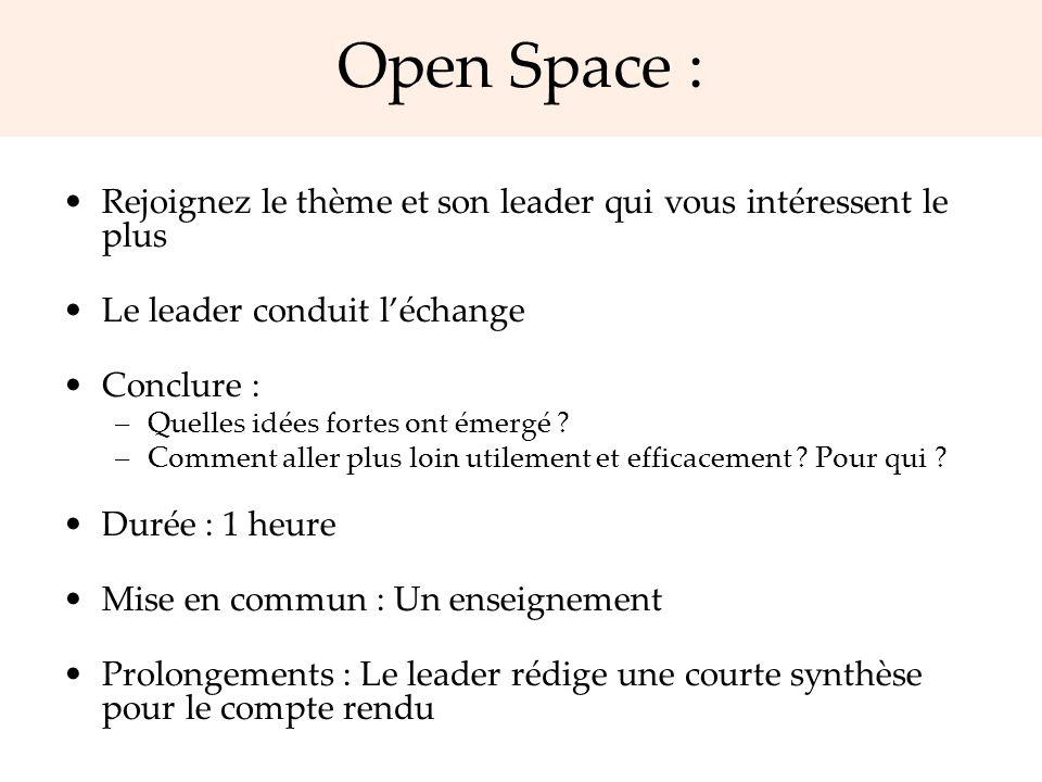 Open Space : Rejoignez le thème et son leader qui vous intéressent le plus. Le leader conduit l'échange.