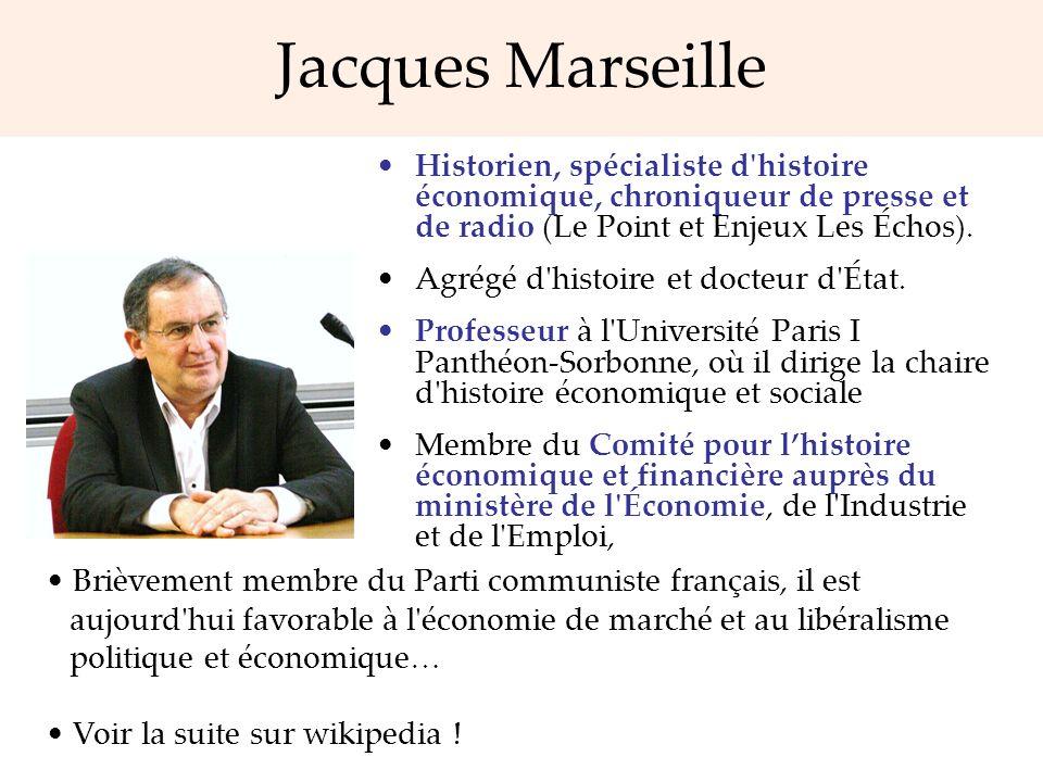 Jacques Marseille Historien, spécialiste d histoire économique, chroniqueur de presse et de radio (Le Point et Enjeux Les Échos).
