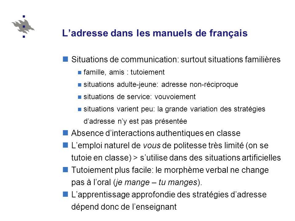 L'adresse dans les manuels de français