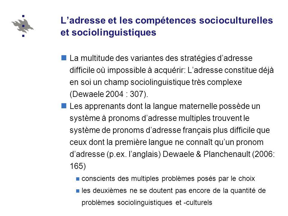 L'adresse et les compétences socioculturelles et sociolinguistiques