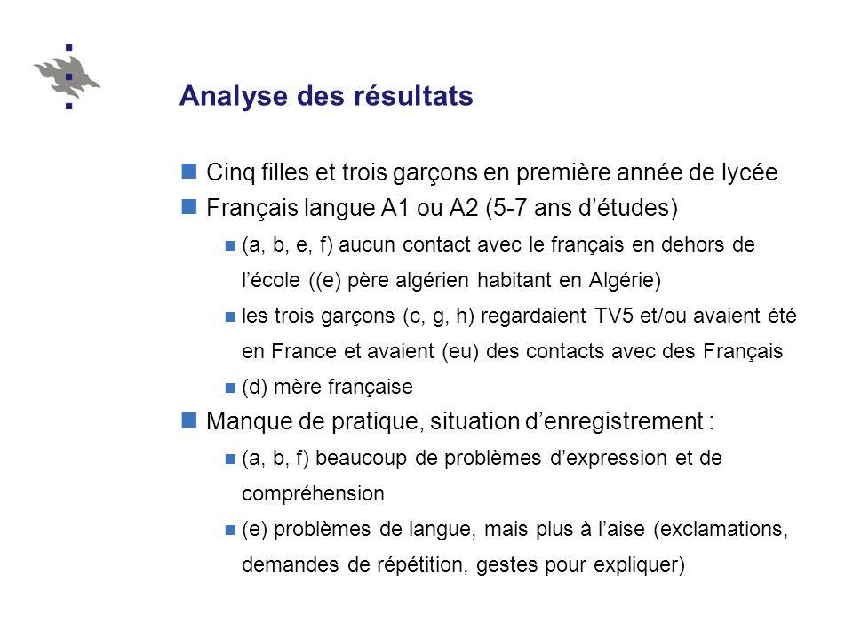 Analyse des résultats Cinq filles et trois garçons en première année de lycée. Français langue A1 ou A2 (5-7 ans d'études)