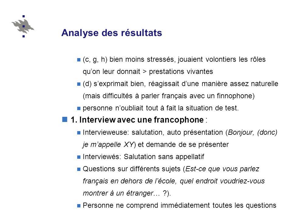 Analyse des résultats 1. Interview avec une francophone :
