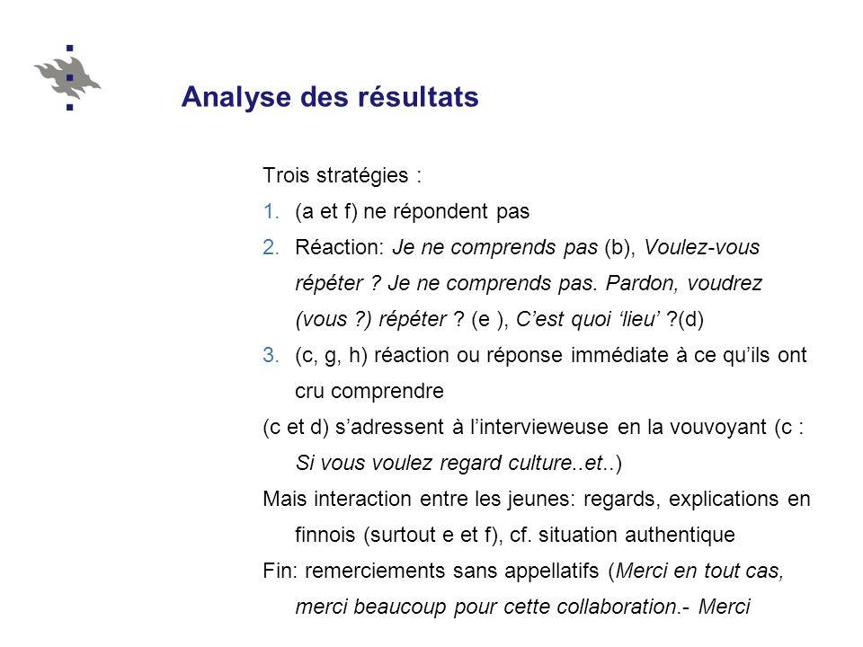 Analyse des résultats Trois stratégies : (a et f) ne répondent pas