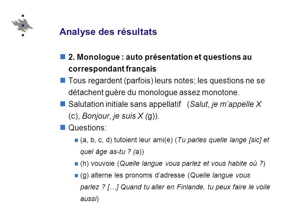 Analyse des résultats 2. Monologue : auto présentation et questions au correspondant français