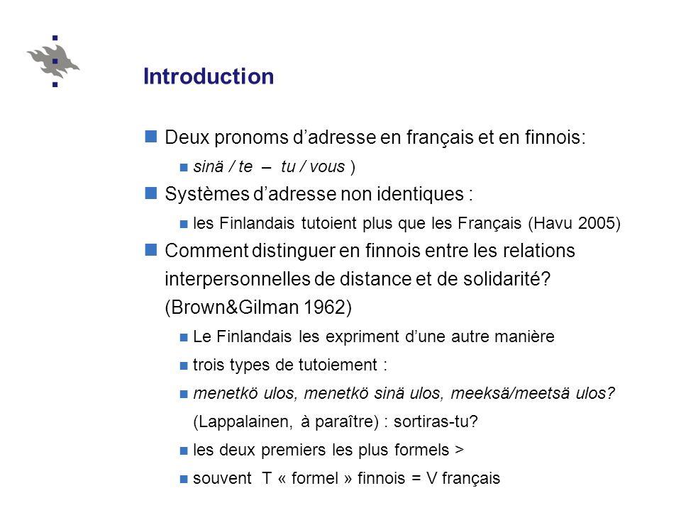 Introduction Deux pronoms d'adresse en français et en finnois: