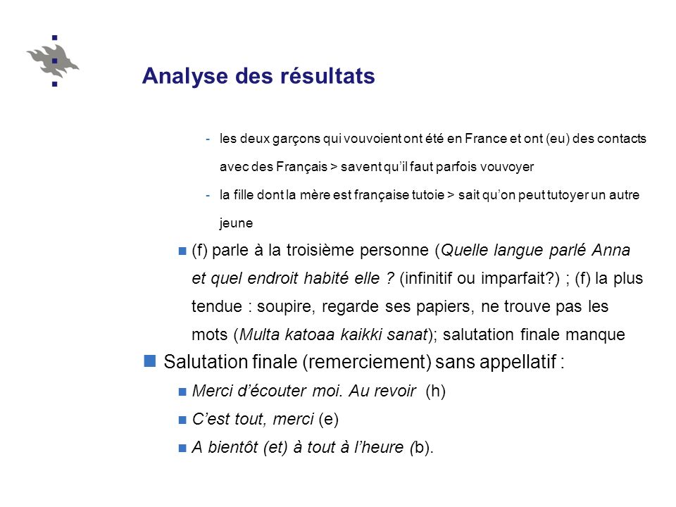 Analyse des résultats