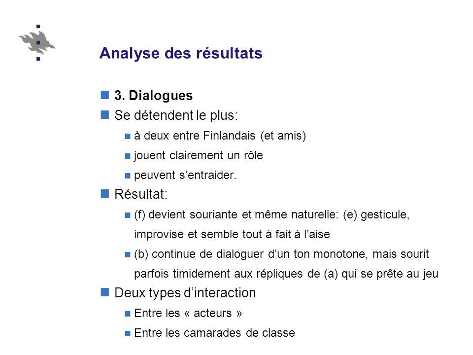 Analyse des résultats 3. Dialogues Se détendent le plus: Résultat: