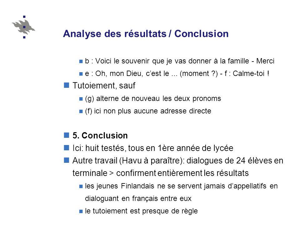 Analyse des résultats / Conclusion