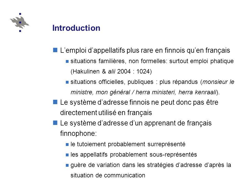 Introduction L'emploi d'appellatifs plus rare en finnois qu'en français.