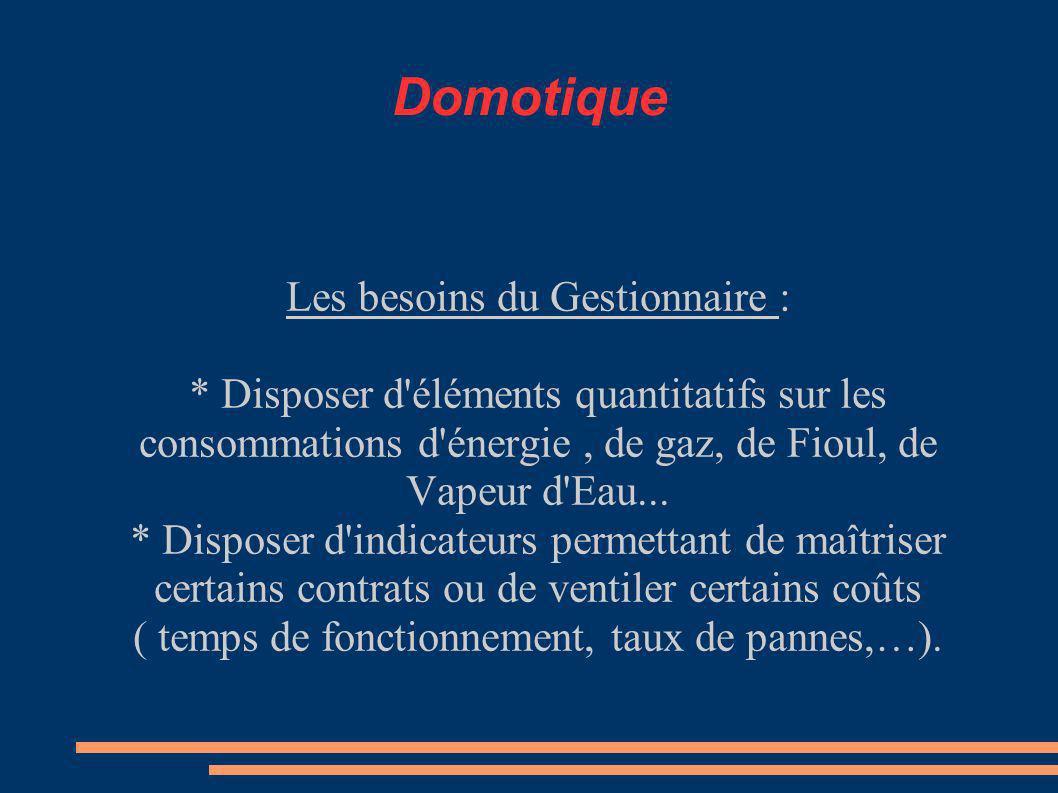 Domotique Les besoins du Gestionnaire :