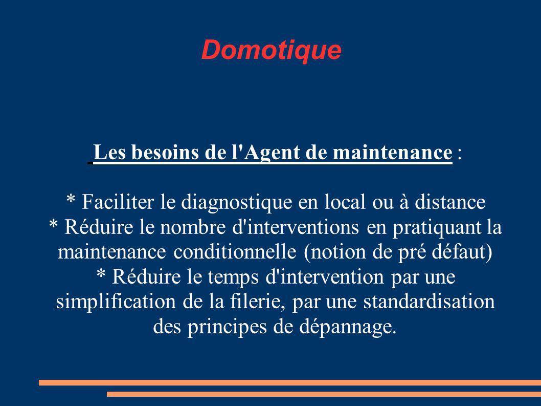 Domotique Les besoins de l Agent de maintenance :
