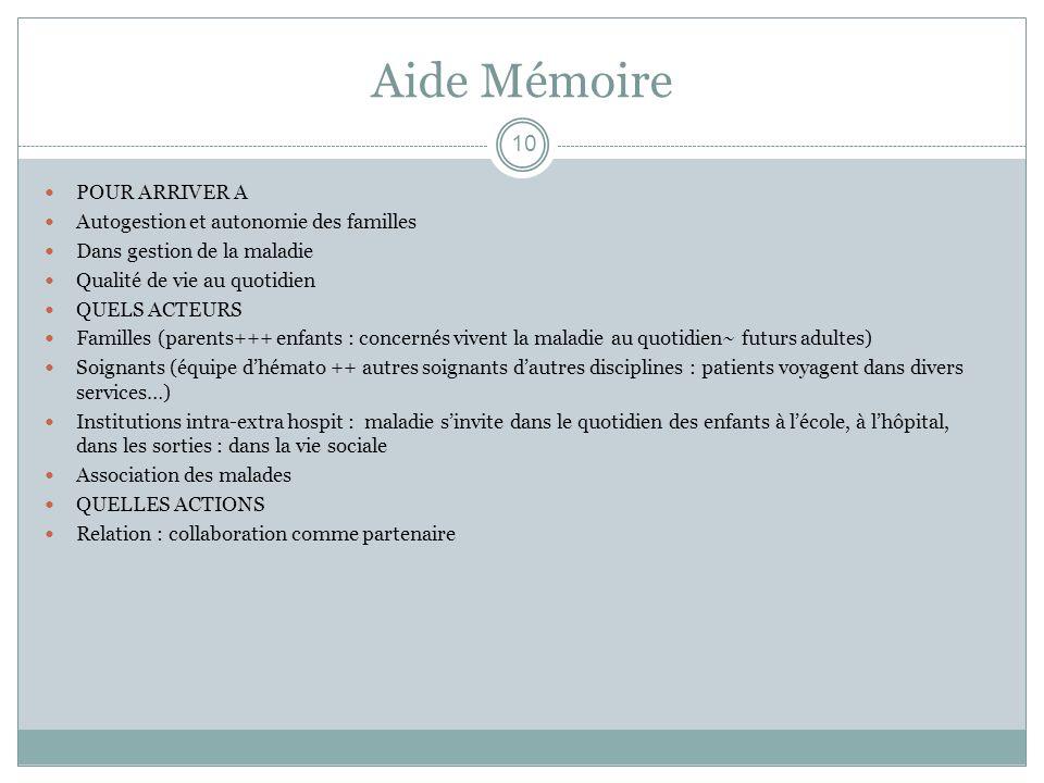 Aide Mémoire POUR ARRIVER A Autogestion et autonomie des familles