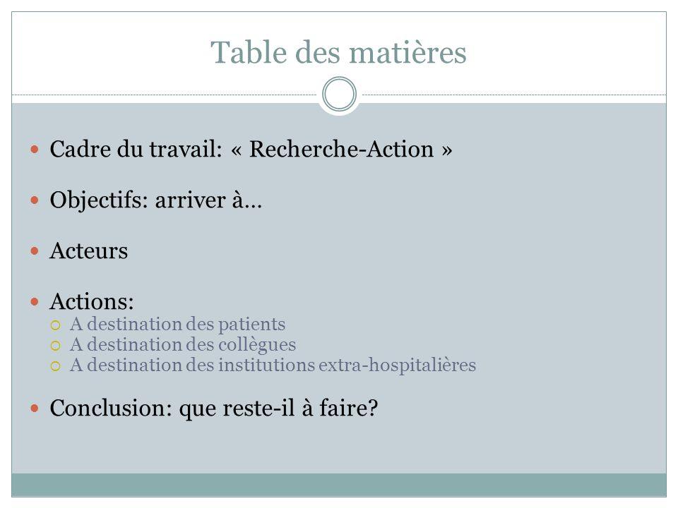 Table des matières Cadre du travail: « Recherche-Action »