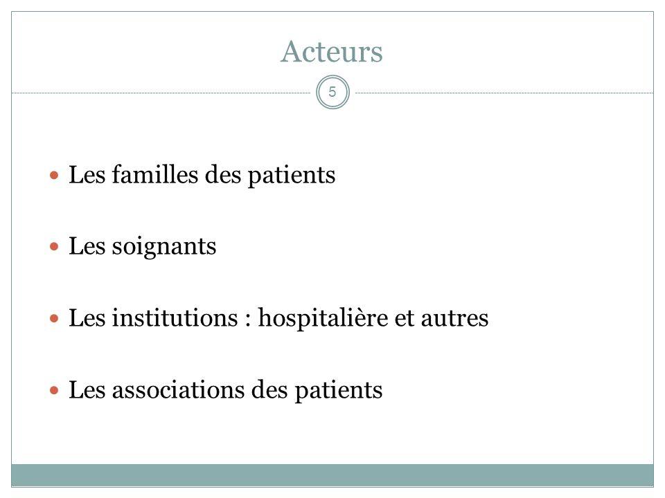 Acteurs Les familles des patients Les soignants