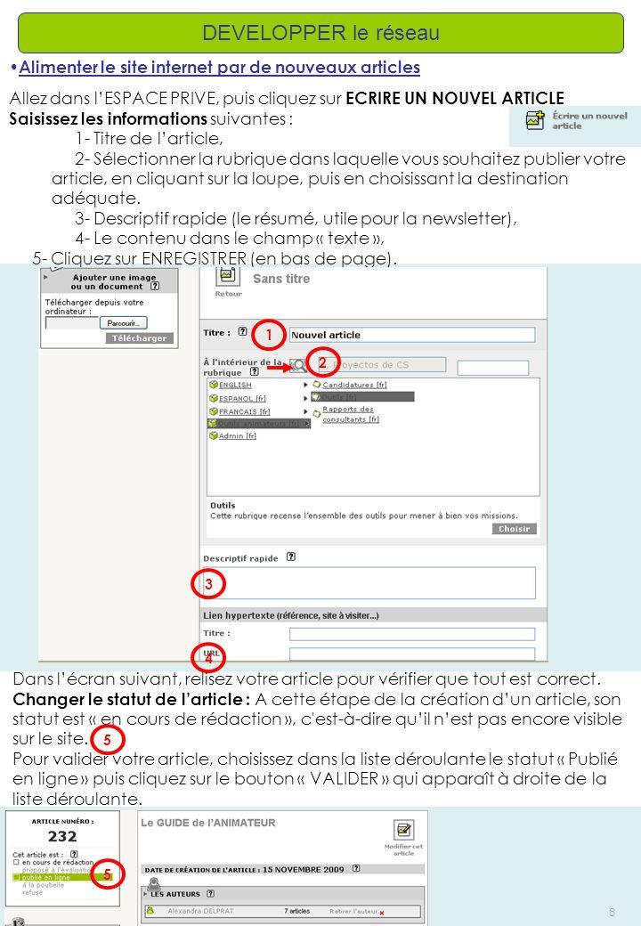 DEVELOPPER le réseau Alimenter le site internet par de nouveaux articles. Allez dans l'ESPACE PRIVE, puis cliquez sur ECRIRE UN NOUVEL ARTICLE.