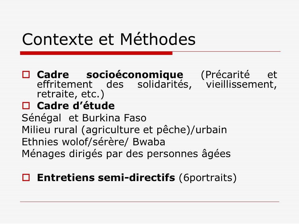 Contexte et Méthodes Cadre socioéconomique (Précarité et effritement des solidarités, vieillissement, retraite, etc.)