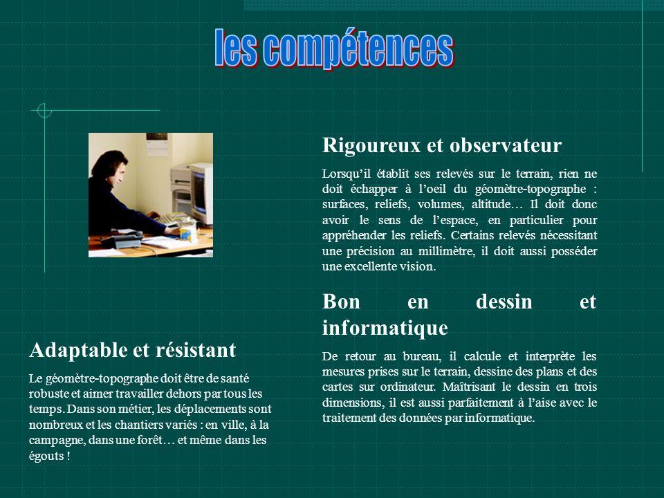 les compétences Rigoureux et observateur Bon en dessin et informatique