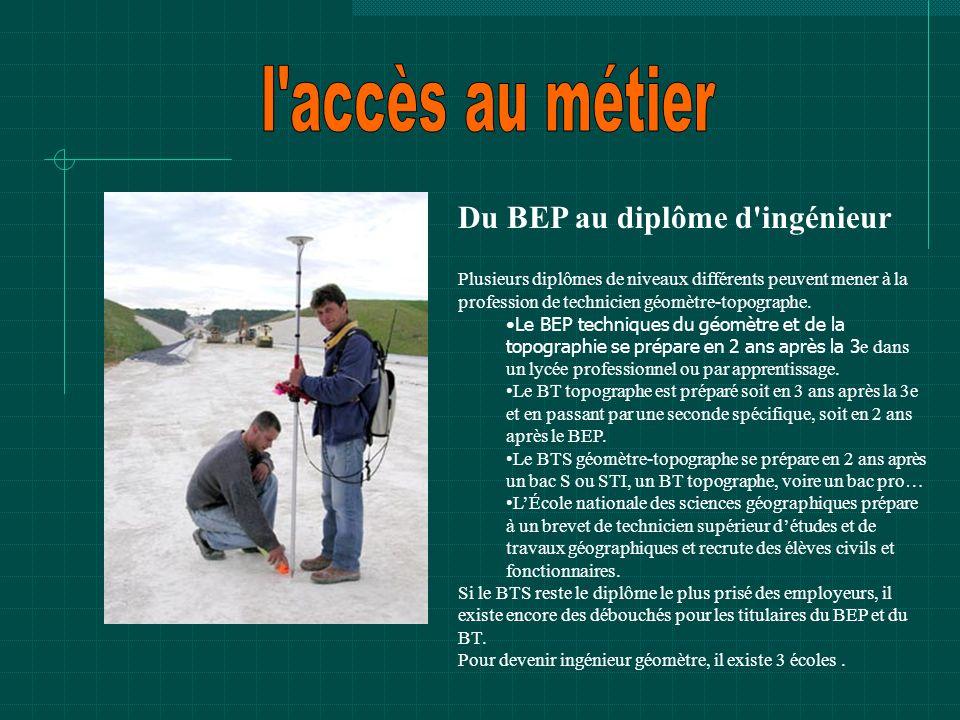l accès au métier Du BEP au diplôme d ingénieur