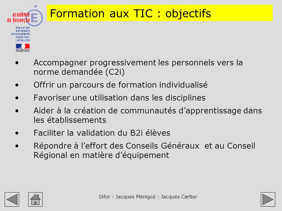 Formation aux TIC : objectifs