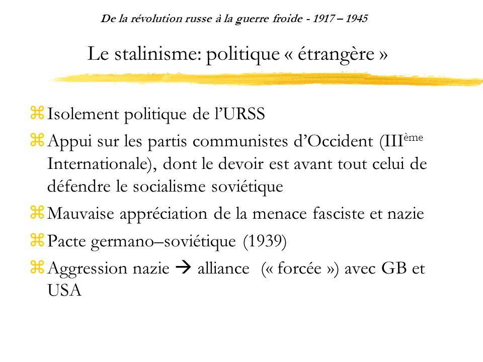 Le stalinisme: politique « étrangère »