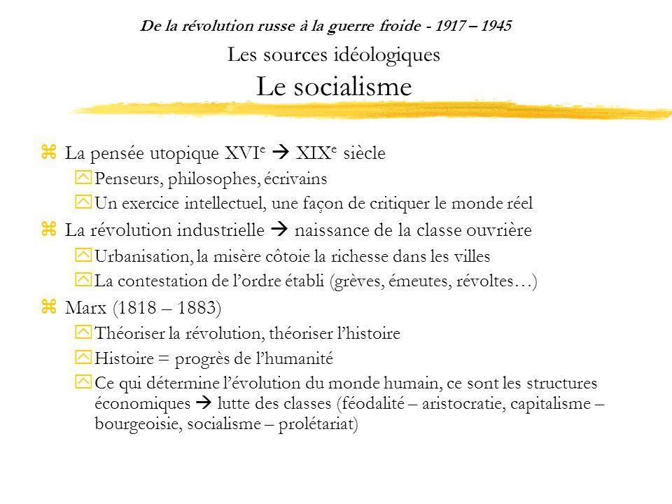 Les sources idéologiques Le socialisme