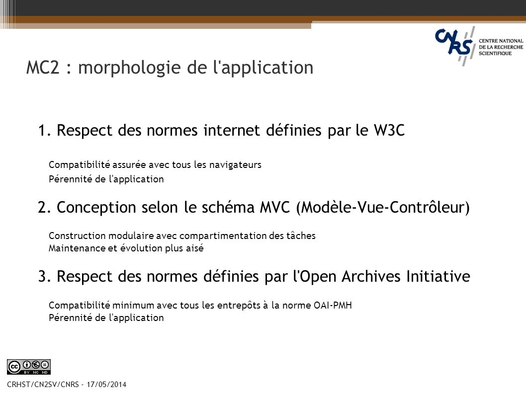 MC2 : morphologie de l application
