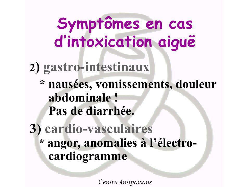 Symptômes en cas d'intoxication aiguë