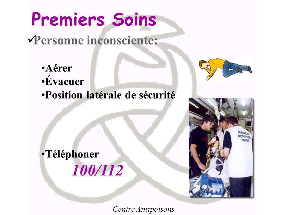 Premiers Soins 100/112 Personne inconsciente: Aérer Évacuer
