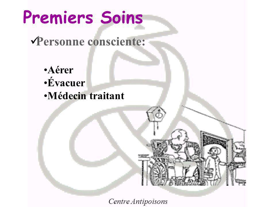 Premiers Soins Personne consciente: Aérer Évacuer Médecin traitant