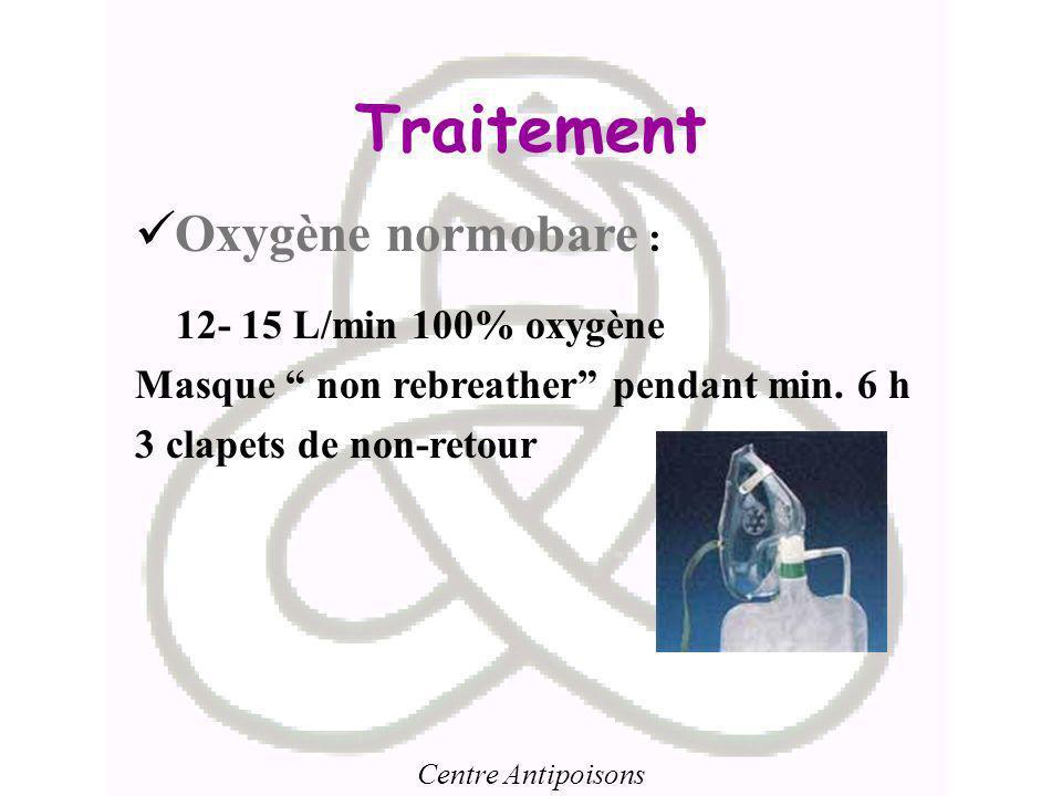 Traitement Oxygène normobare : 12- 15 L/min 100% oxygène