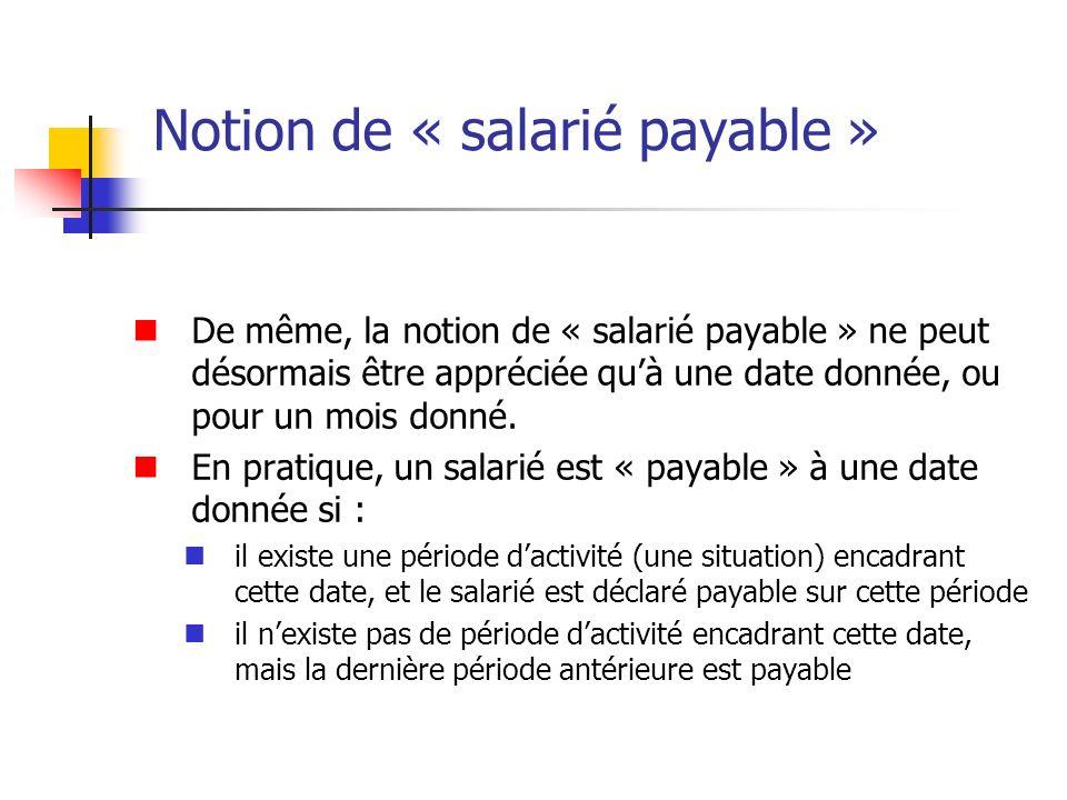 Notion de « salarié payable »