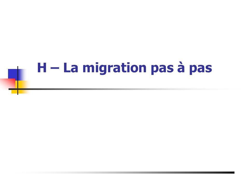 H – La migration pas à pas