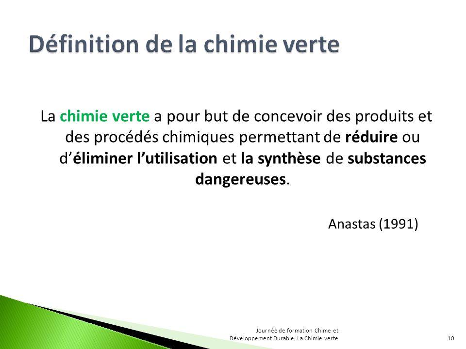 Définition de la chimie verte