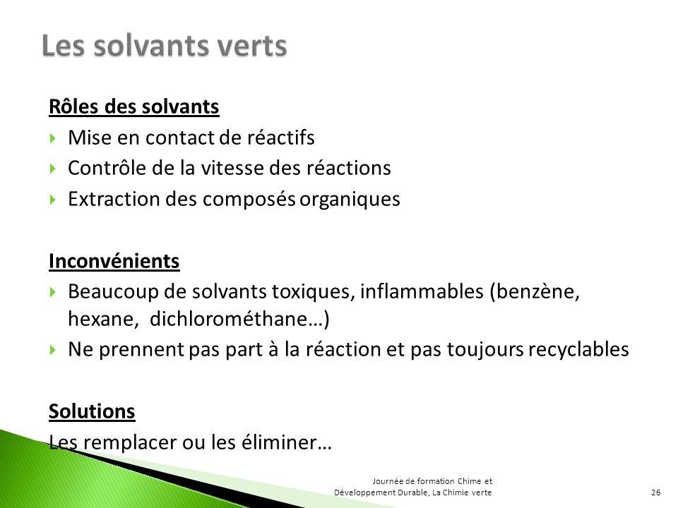 Les solvants verts Rôles des solvants Mise en contact de réactifs