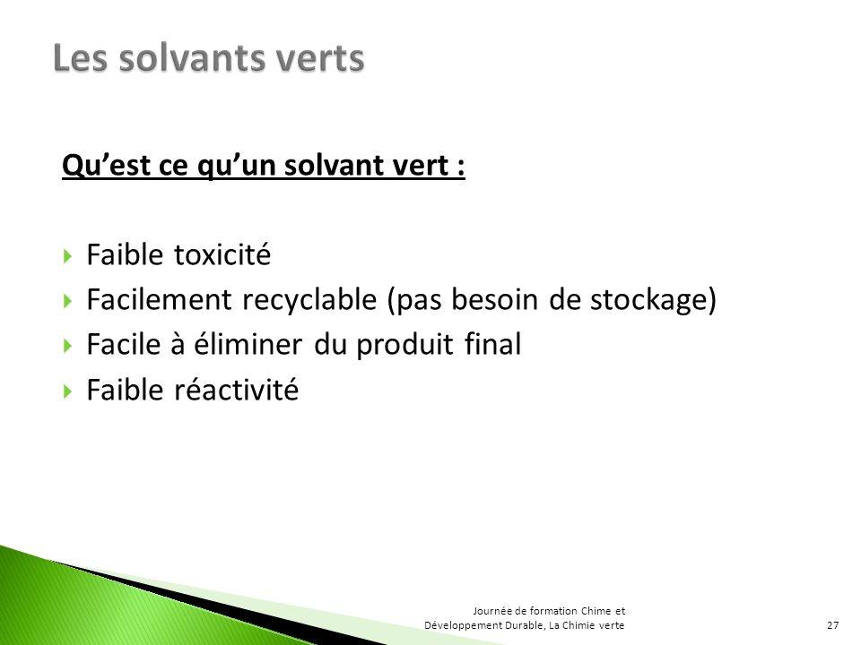 Les solvants verts Qu'est ce qu'un solvant vert : Faible toxicité