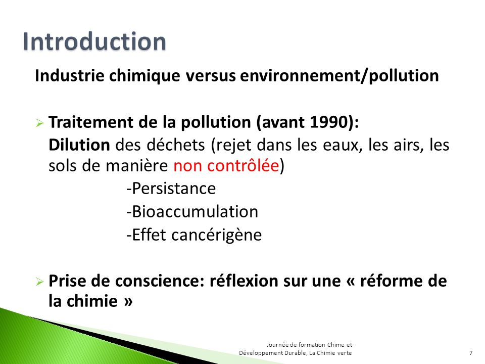 Introduction Industrie chimique versus environnement/pollution