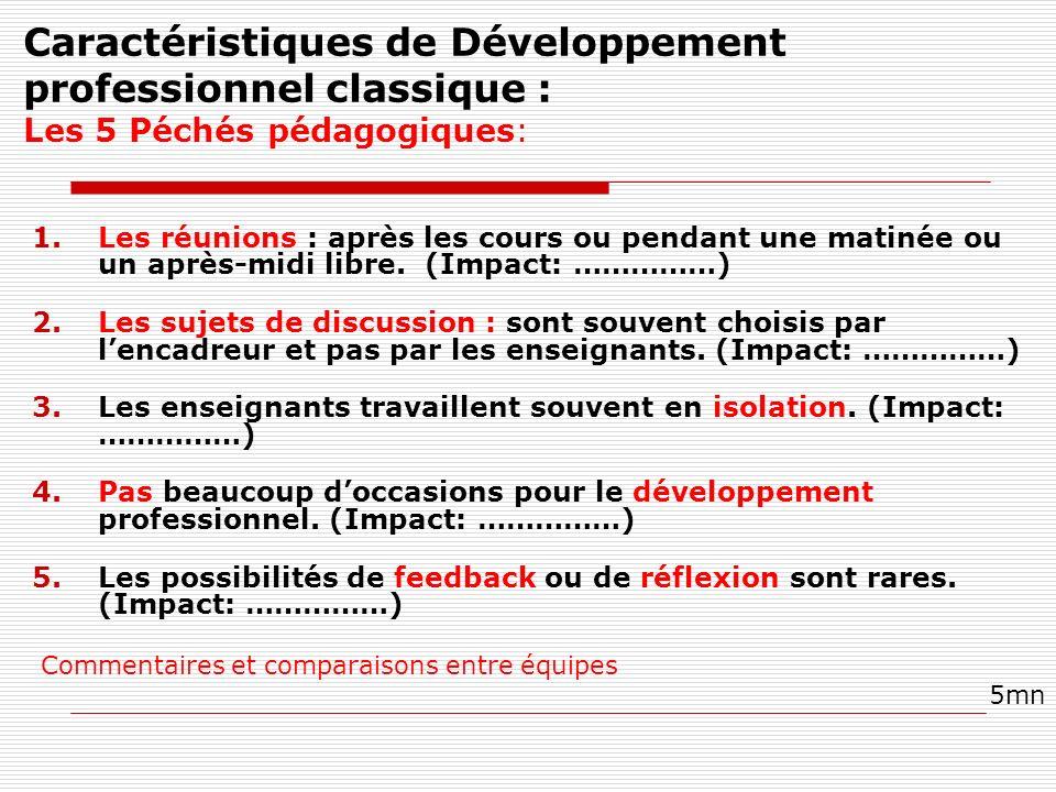 Caractéristiques de Développement professionnel classique : Les 5 Péchés pédagogiques: