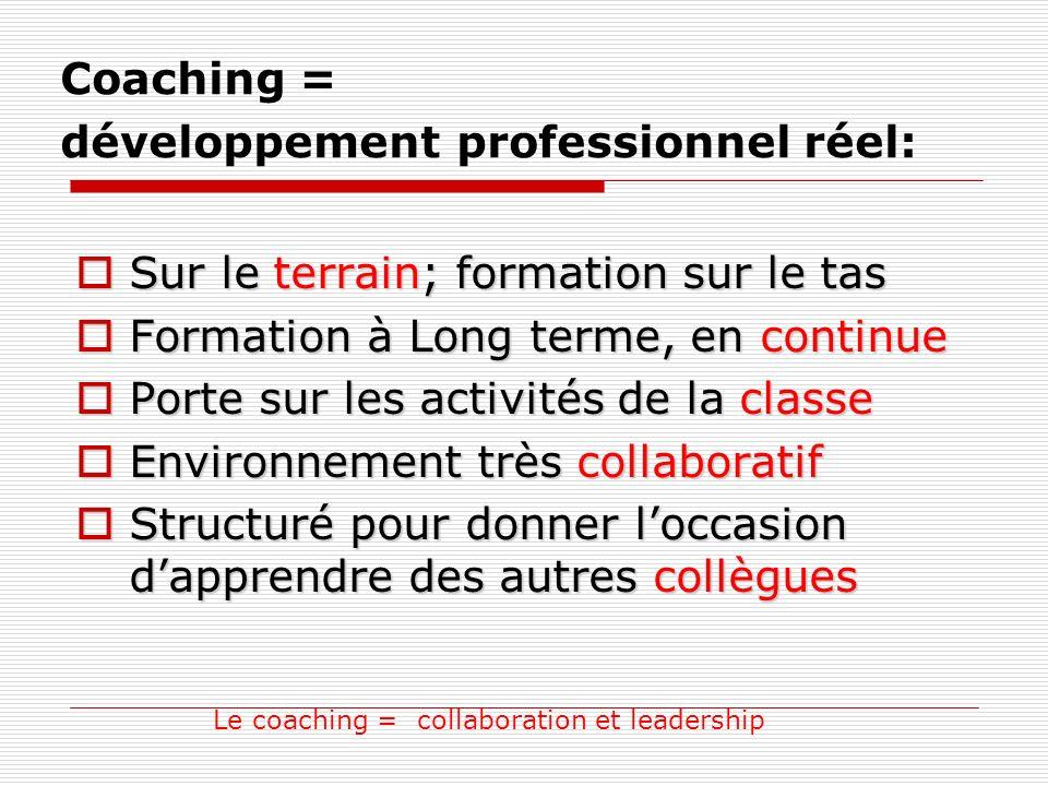 Coaching = développement professionnel réel: