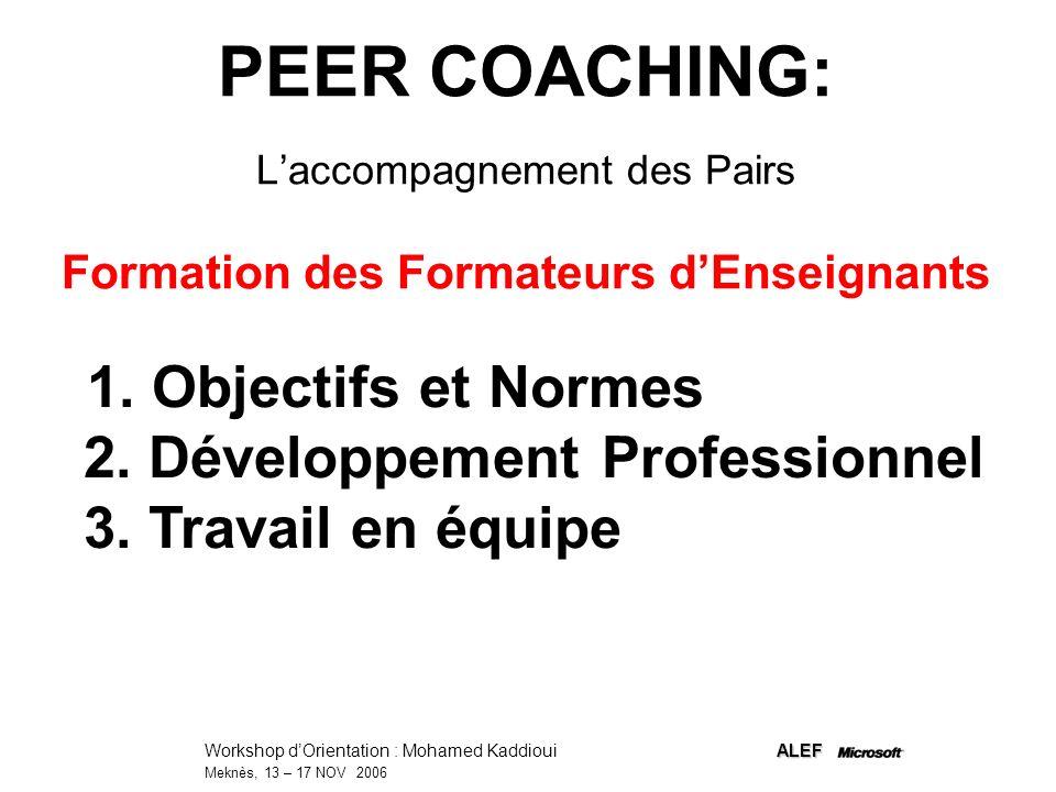 PEER COACHING: L'accompagnement des Pairs Formation des Formateurs d'Enseignants