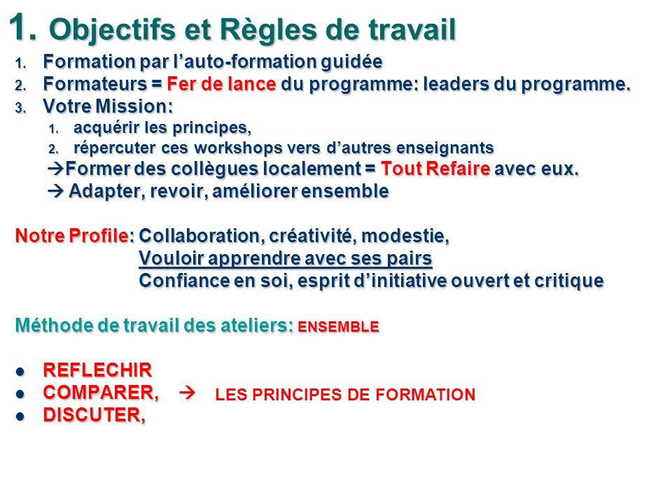 1. Objectifs et Règles de travail