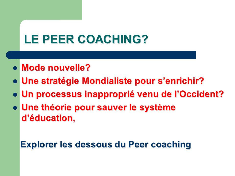 LE PEER COACHING Mode nouvelle