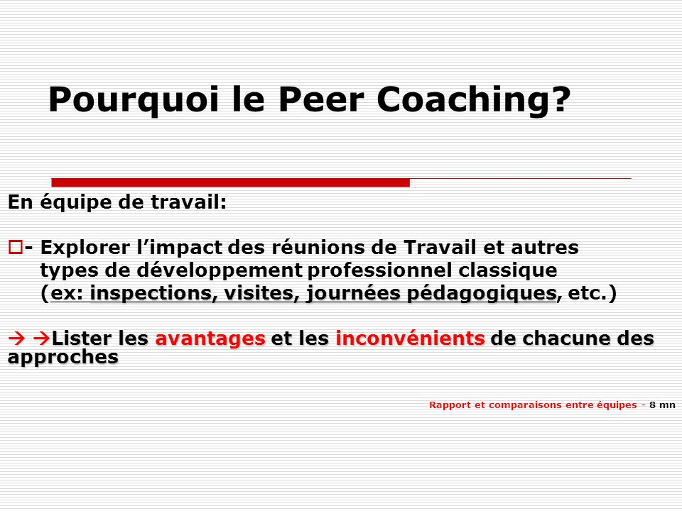 Pourquoi le Peer Coaching