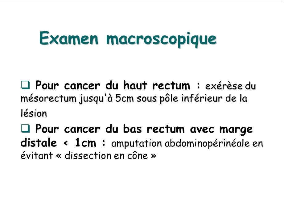 Examen macroscopique Pour cancer du haut rectum : exérèse du mésorectum jusqu à 5cm sous pôle inférieur de la lésion.